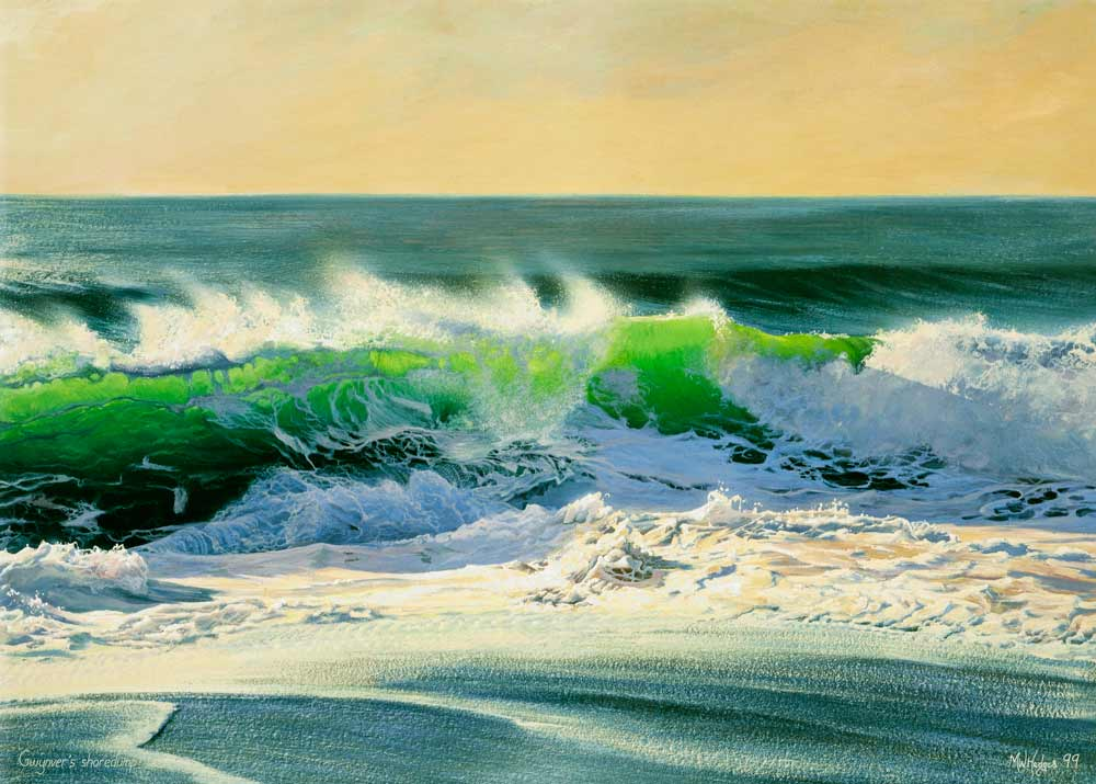 Fine art print of impressive breaking wave at Sennen Cove.