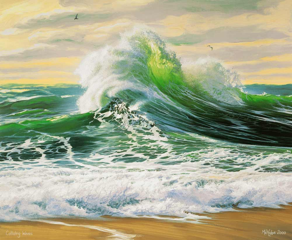 Contemprary art print of impressive wave breaking on beach.