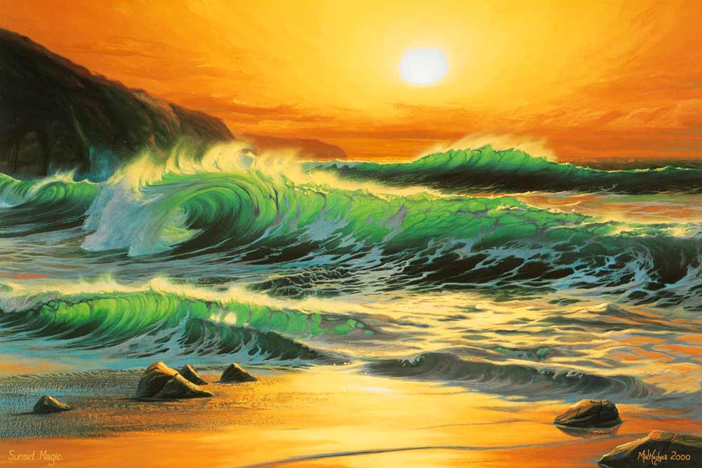 Limited edition print of vivid fiery sunset over dramatic waves at Gwynver beach.