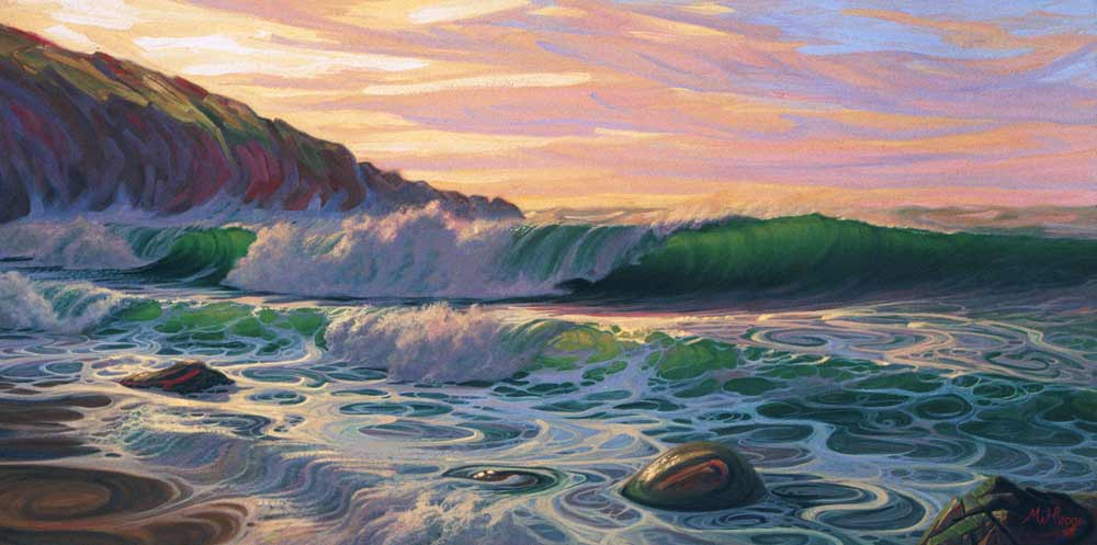 Painting of surf breaking on a beach under sunset sky.