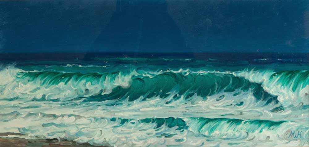 Oil on board beachscape with rich green wave under deep blue sky.