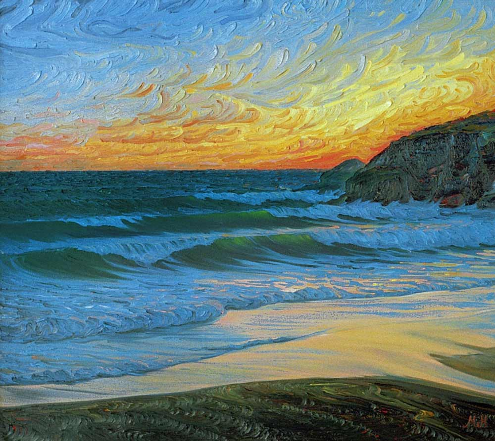 Oil on canvas of vivid sunset at Praa Sands
