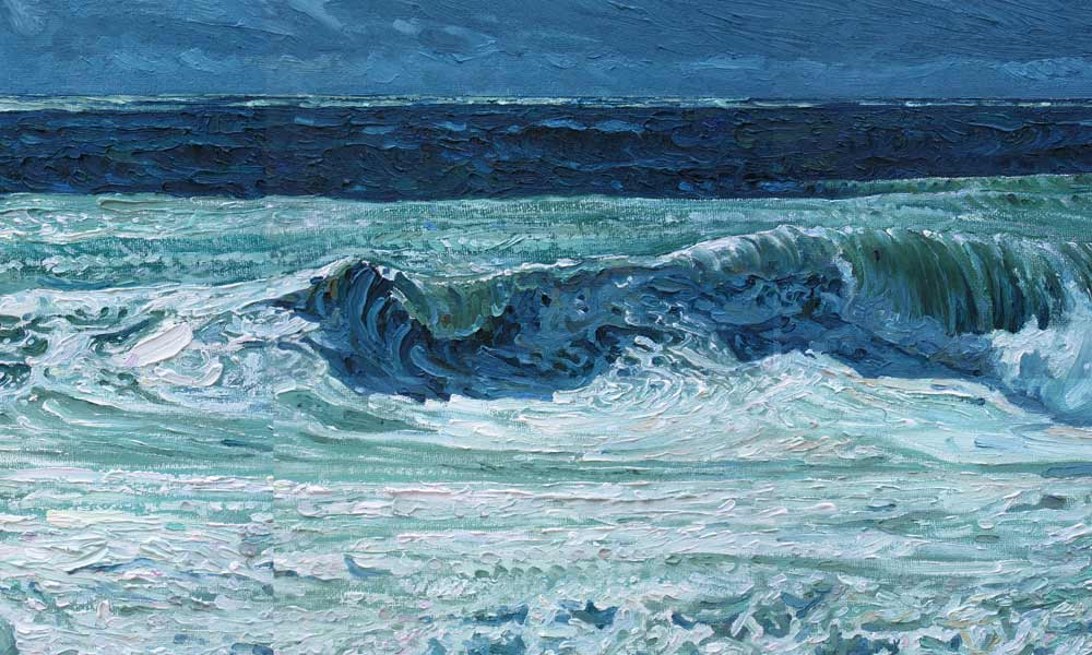 Oil on canvas of wave crashing on a beach at Porthleven.
