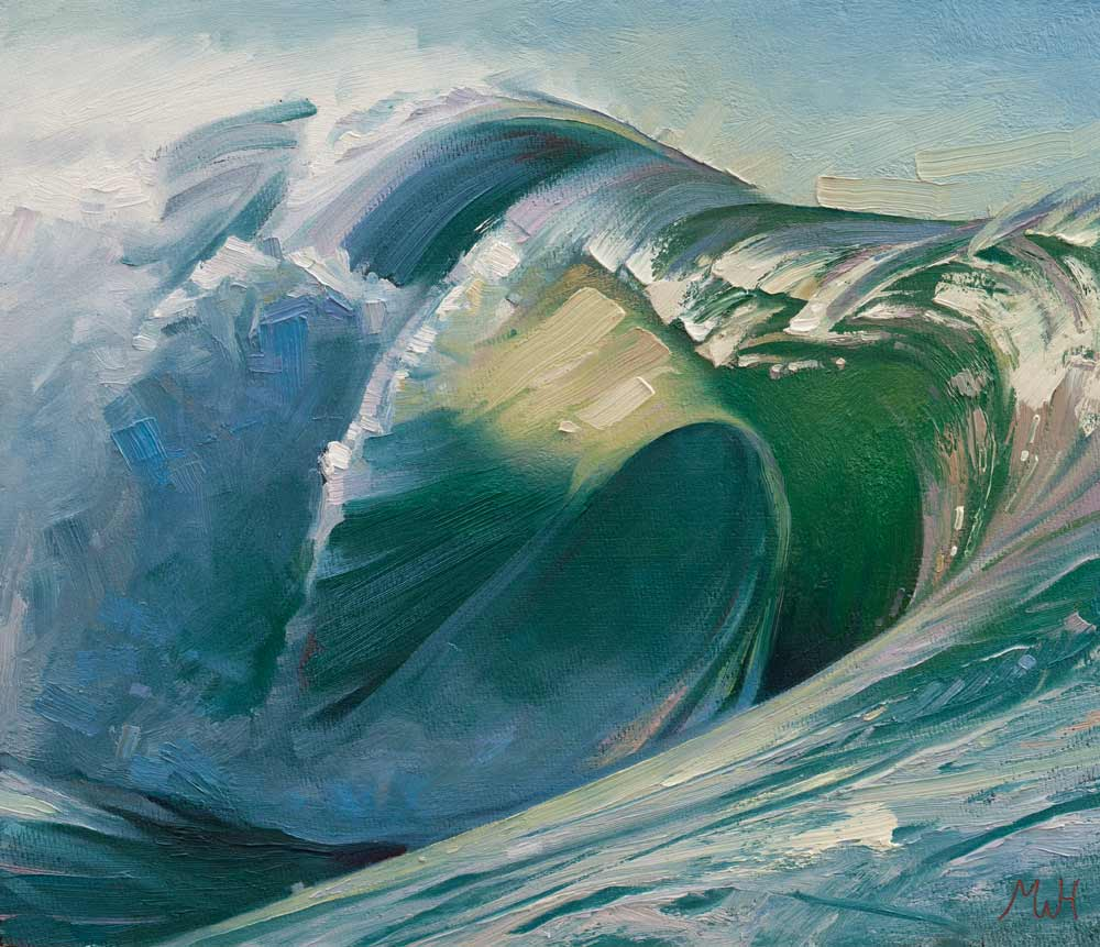Framed artwork in oils of big surfing wave.
