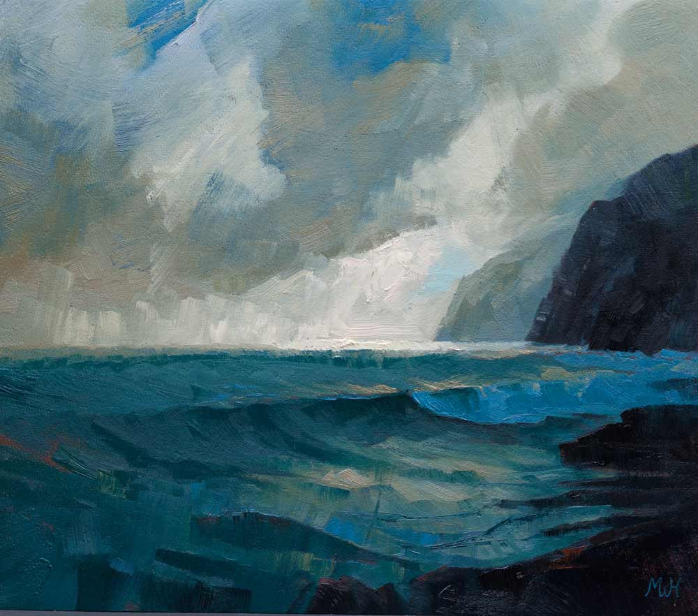 Expressive seascape in oils of mysterious Cornish cliffs.