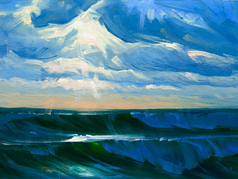 Expressive seascape in gouache of stormy sea.