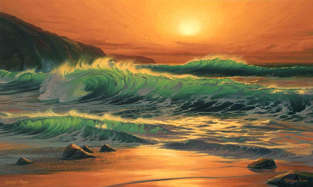 Fine art print hot fiery sunset over dramatic waves at Sennen Cove.