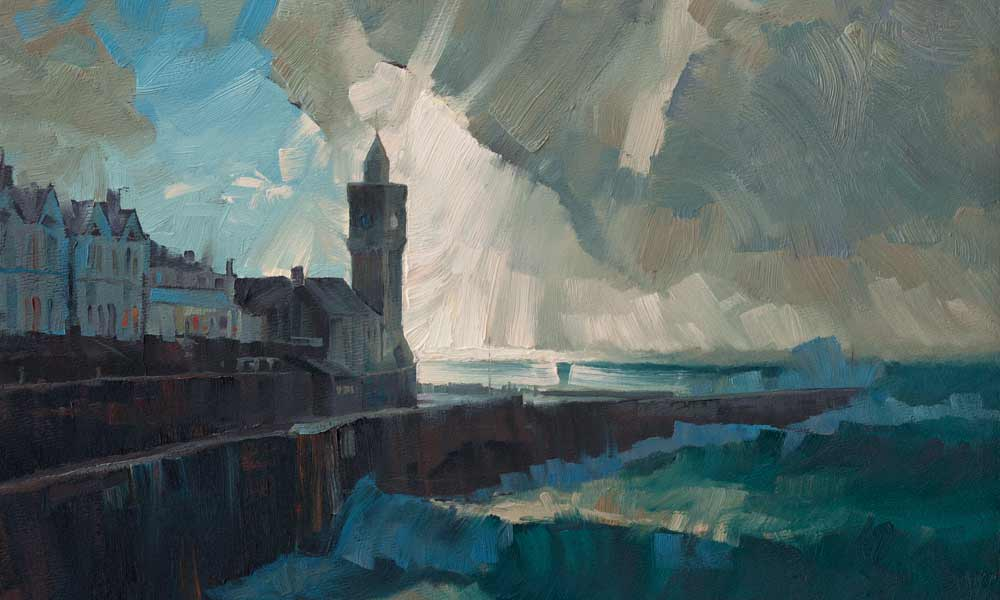 Original artwork of stormy sea at Porthleven.